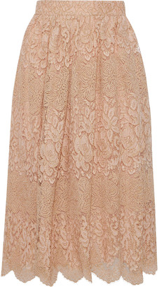Valentino Metallic Lace Midi Skirt