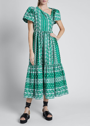 Erdem Short-Sleeve Asymmetric-Neck Midi Dress w/ Ruffle Hem