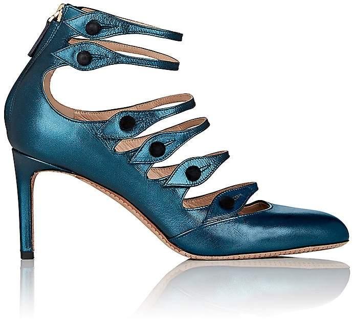 Valentino Women's Metallic Leather Multi-Strap Pumps
