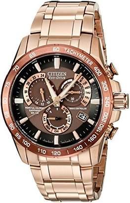 Citizen Men's Eco-Drive Perpetual Chrono Atomic Timekeeping Rose Gold-Tone Watch