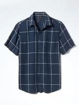 Banana Republic Camden-Fit Short-Sleeve Check Linen Shirt