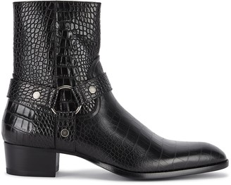 Saint Laurent Wyatt crocodile-effect leather ankle boots