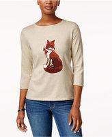 Karen Scott Fox Graphic Sweater, Only at Macy's
