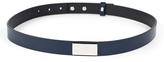 Luana Navy Blue Metal-Accent Leather Belt