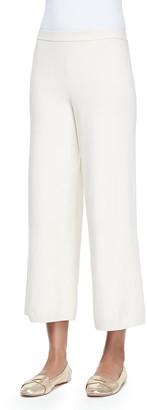 Joan Vass Plus Size Silk-Cashmere Wide-Leg Pants