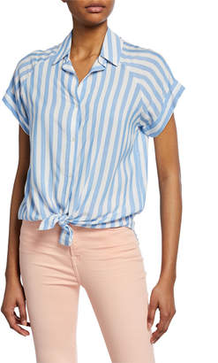 7 For All Mankind Striped Button-Down Short-Sleeve Tie-Front Shirt
