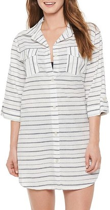 Dotti Radiance Stripe Shirt Dress Cover-Up