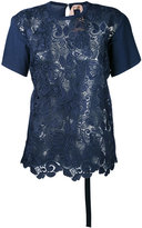 No.21 jersey-panelled lace top - women - Cotton/Polyester - 40