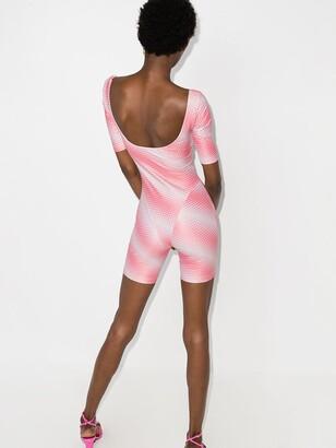 MAISIE WILEN Pink Diagonal Print Bodysuit