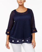 Alfani Plus Size Lace Top, Created for Macy's