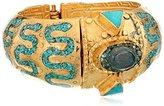 """Devon Leigh Ethnic and Tribal"""" Intricate Turquoise and Gold Cuff Bracelet"""