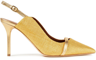 Malone Souliers Marion 85 Metallic Leather-trimmed Raffia Pumps