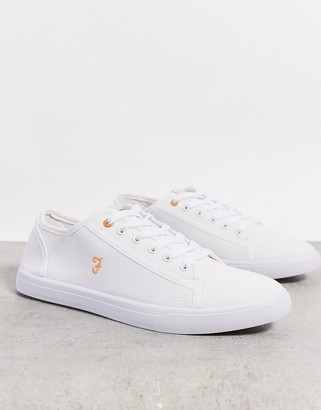 Farah canvas lace up plimsolls in white