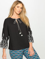 ELOQUII Plus Size Embroidered Tie Neck Top