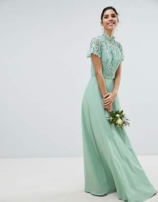 Chi Chi London 2 in 1 High Neck Maxi Dress with Crochet Lace-Green