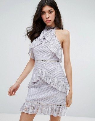 True Decadence Sleeveless Lace Ruffle Detail Mini Dress-Grey