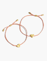 Madewell Carved Heart Corded Friendship Bracelet Set