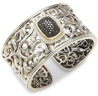 Charles Krypell 14K White Gold, 18K Yellow Gold Sterling Silver Black White Diamond Hinge Cuff Bracelet