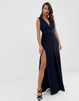 Asos Design DESIGN premium lace insert pleated maxi dress-Navy