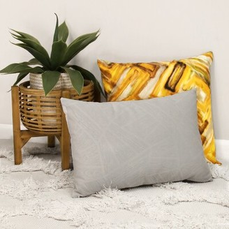 "Mercer41 Batchmann Velvet 14"" Lumbar Pillow Cover and Insert Pillow Pillow Color: Gray"