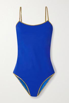 Tooshie Bridgehampton Reversible Lurex-trimmed Swimsuit - Cobalt blue