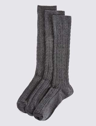 Marks and Spencer 3 Pairs of Cable Knee High Socks