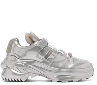 Maison Margiela Retro Fit Metallic Trainers - Mens - Silver