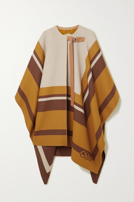 Chloé Leather-trimmed Intarsia Wool Cape - Beige