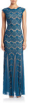 Betsy & Adam Plus Lace Overlay Mermaid Gown