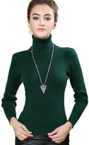Macoking Women's Cashmere Sweaters Classic Solid Turtle-Neck Slim-Fit Pullovers 23.3in Long