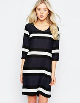 B.young Striped 3/4 Sleeve Shift Dress
