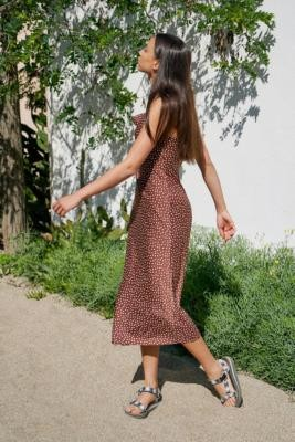 Urban Outfitters Mallory Dotted Slip Midi Dress - Brown XS at
