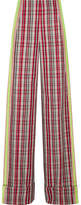 Diane von Furstenberg Grosgrain-trimmed Checked Canvas Wide-leg Pants - Red