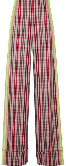 Diane von Furstenberg Grosgrain-trimmed Checked Canvas Wide-leg Pants - Red