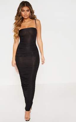PrettyLittleThing Black Strappy Slinky Ruched Back Maxi Dress