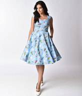 Collectif 1950s Style Dusty Blue Classic Car Sandra Swing Dress