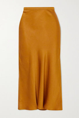 Anine Bing Bar Silk-satin Midi Skirt - Gold