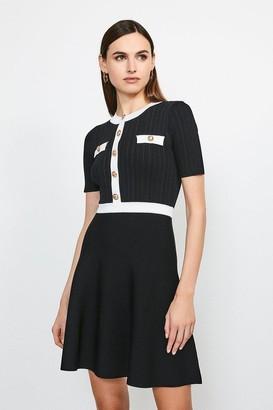 Karen Millen Military Button and Pocket Knitted Dress