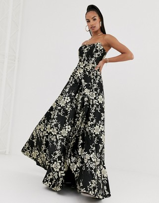 Bariano strapless glitter ballgown in black and gold