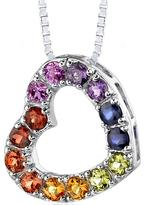 Ice 2 CT TW Multi-Gemstone Rhodium-Plated Silver Heart Pendant Necklace