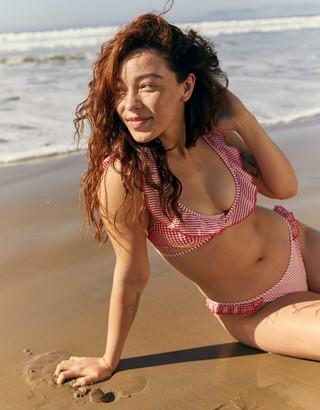 aerie Ruffle Wrap Halter Bikini Top