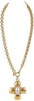 One Kings Lane Vintage Chanel Oversize Cross Necklace - Vintage Lux - gold/pearl/celeste/green