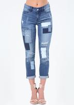 Bebe Patch Crop Girlfriend Jeans