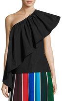 Rosie Assoulin Ruffled One-Shoulder Top, Black