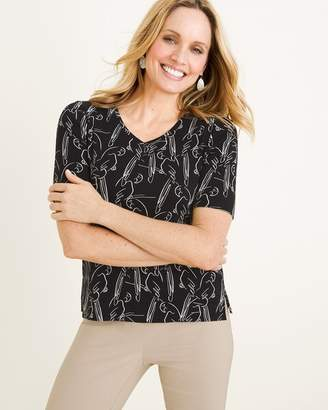 Chico's Chicos Black and White Parrot-Print Tee
