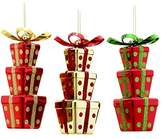 """Kurt Adler 6.5"""" Stacked Shiny Gift Box Ornament 3/asstd Colors: Pink, Lime Green & Teal."""
