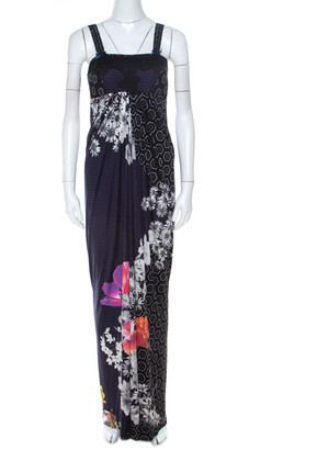 Roberto Cavalli Class by Multicolor Printed Jersey Lace Bodice Dress M