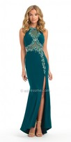 Camille La Vie Jersey Beaded Illusion Front Slit Evening Dress
