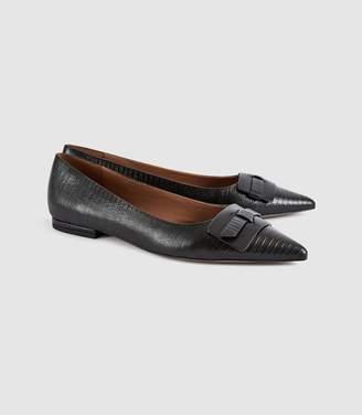 Reiss Tamzine Lizard - Leather Point Toe Flats in Black