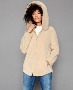 The Fur Vault Shearling Lamb Fox-Fur-Trim Hooded Jacket